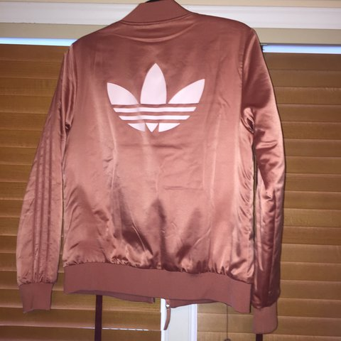 be4cb617039e Pink adidas bomber jacket with light pink adidas logo on and - Depop
