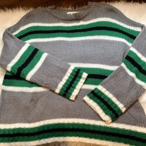 f5184a4094b  brittneezy. 3 hours ago. United States. NWT Chunky Knit striped sweater! Size  large.