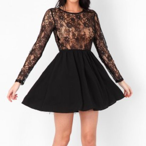 b9fcd8af7cfb Missguided black lace skater dress. Lace top half with Can a - Depop
