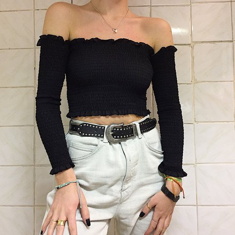 469e0f41116de Absolutely perfect black long sleeve off shoulder bardot top - Depop
