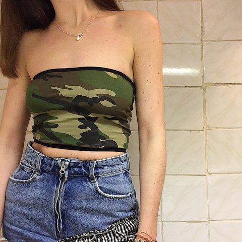 6c9d583ced0 Cute 90s style green camo cropped bandeau boob tube top • on - Depop