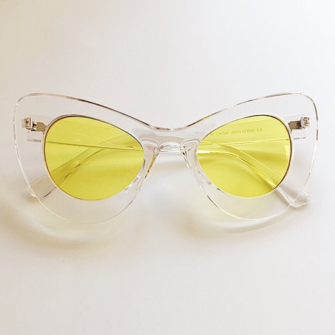 dd501e3482e 🍒SALE • WAS £18🍒 Super funky clear frame yellow lens cat • - Depop