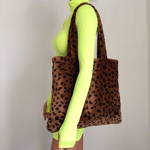6247a6746104 @crk. 7 months ago. Carlisle, United Kingdom. The nicest! Furry animal  leopard print shopper bag • zip ...