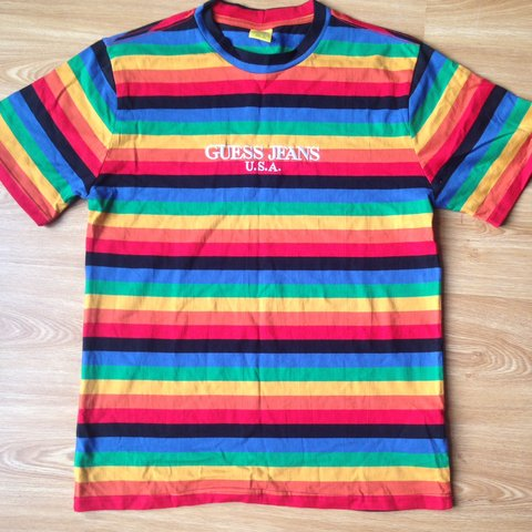b8256337296c @maxcartier. 9 months ago. London, United Kingdom. Sean Wotherspoon x Guess  rainbow tee ...