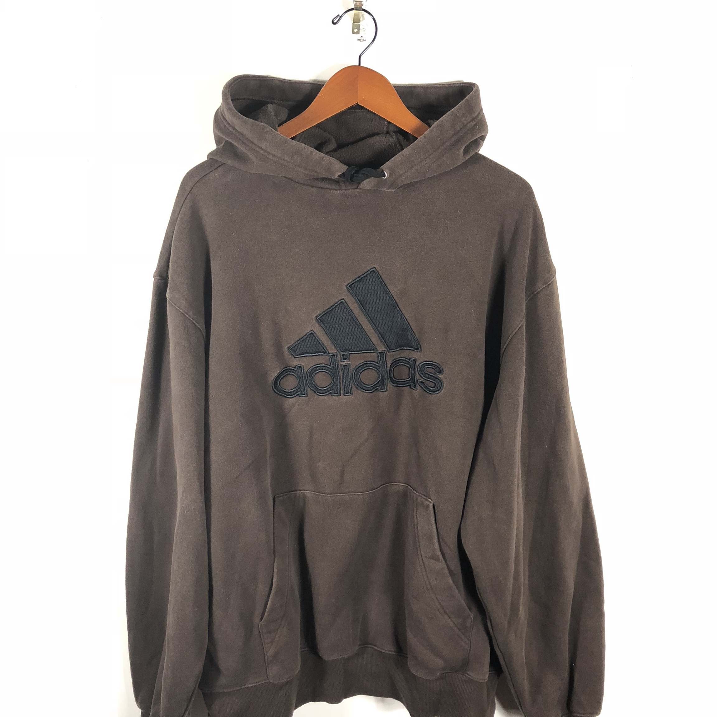 Adidas Essentials Hooded Pullover Sweatshirt Brown Depop