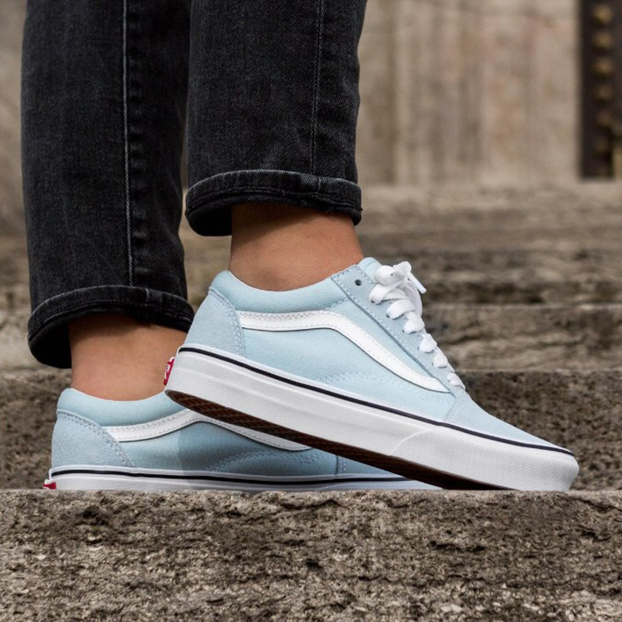 1fa6b260b5acc9 Baby blue old skool vans A bit dirty but nothing a wash fix - Depop