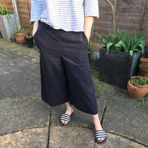 e695514241d4 @kasiabennett. 2 years ago. Nottingham, UK. COS navy culottes. Super wide  leg trousers ...