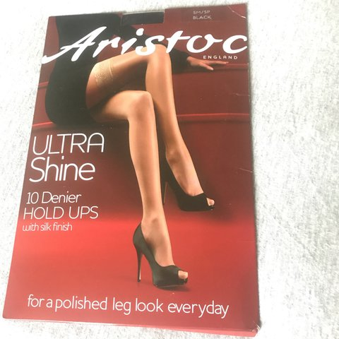 159bcc24d22 Aristoc ultra shine 10 denier BLACK hold ups with lace top. - Depop