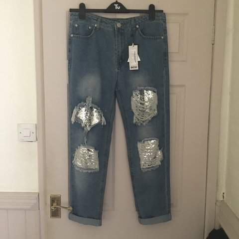 f243091cf28b @laurenbeal. 11 days ago. Stockport, United Kingdom. boohoo sequin  boyfriend jeans brand new with tags