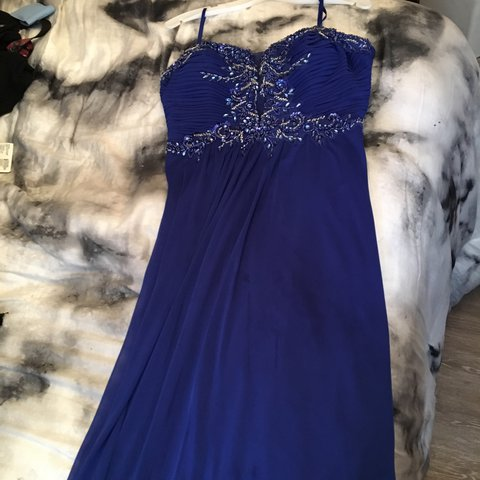 Long Royal Blue Strapless Prom Dress From Davids Bridal No Depop