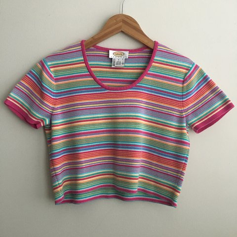 1370e1653a9 @somewherevintage. last year. Berlin, United States. Colorful Striped Crop  Top This sweater looks so cute ...