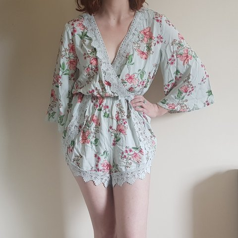 049b871d83 H M floral lace mint wrap playsuit In great condition with - Depop