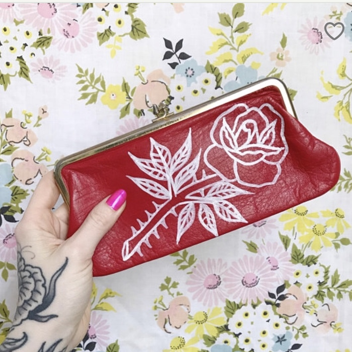 151a1ea453e2 hand painted rose floral red leather vintage... - Depop