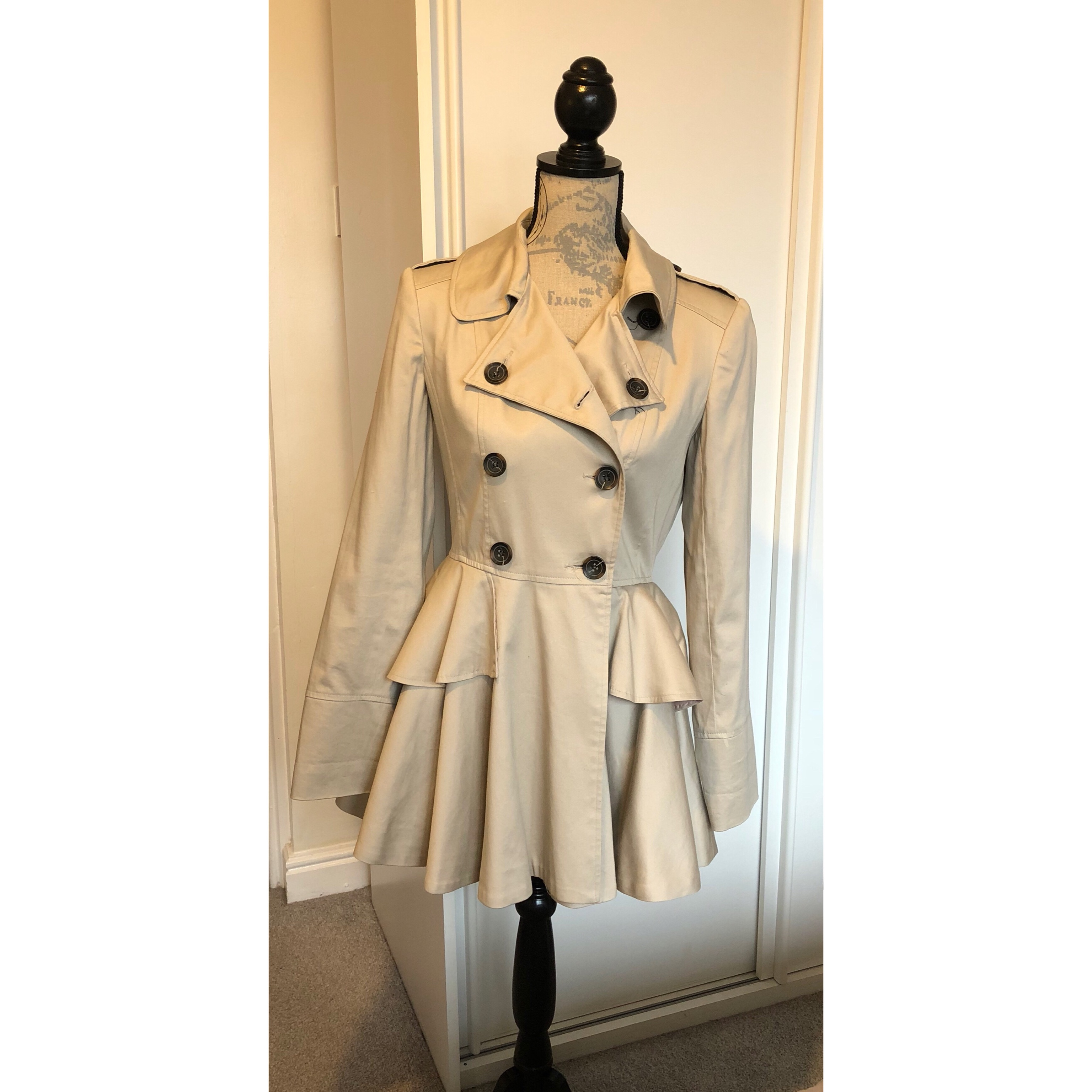 cute attractive colour buying new Lovely peplum trench coat from Miss Selfridge. Size... - Depop