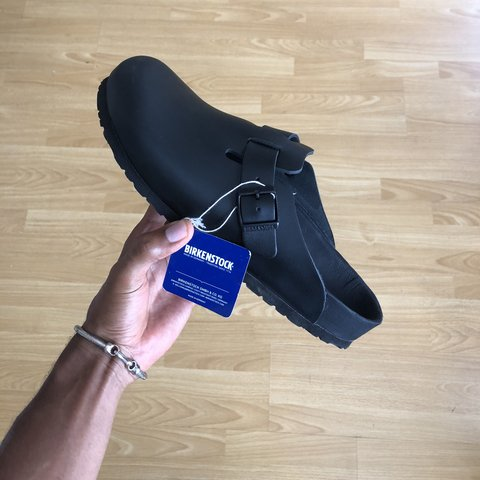 f88f25fc519 New Birkenstock Boston Exquisite Allblack Leather size 45 - Depop