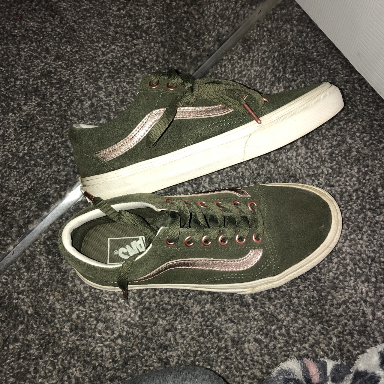 Khaki and rose gold vans. Only been