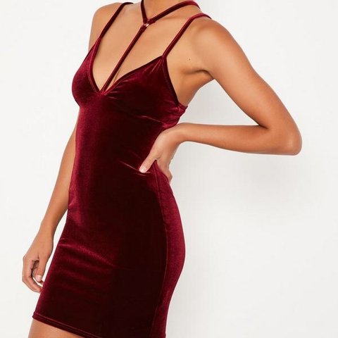 40bda8738e3 Missguided sexy dark red velvet dress Never worn Size 6 10 - Depop