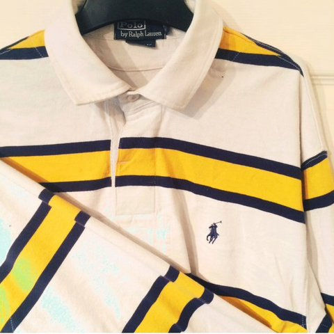 c59296e1 Ralph Lauren polo rugby top size large. White with yellow a - Depop