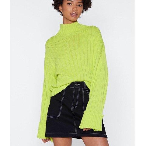 70d081f54b2 REDUCED Nastygal lime green neon jumper with high neck and - Depop