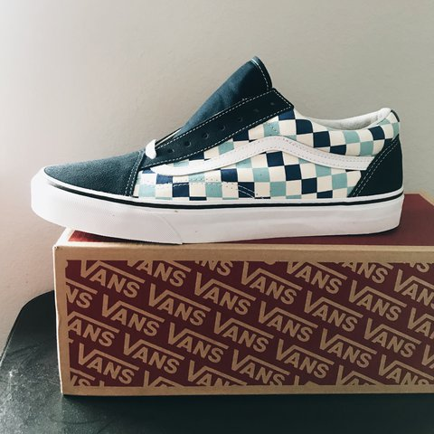 c3d0487238643 New Vans Old School Shoes Vans Checkerboard Navy Blue Blue Depop