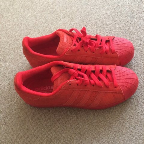 79c74a6a0d0a All red Adidas superstars. Unisex. Size 8. Only worn once in - Depop