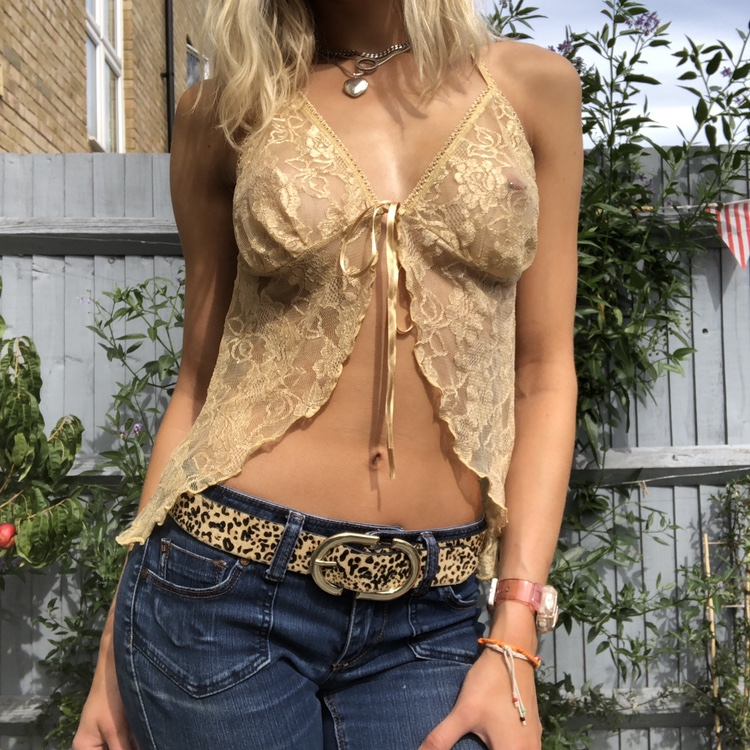True Vintage Gold Lace Halter Neck Top With Tie by Depop