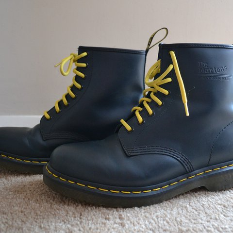 9e204823dcff2 Reduced** Genuine Dr Martens - Navy with yellow laces, air - Depop