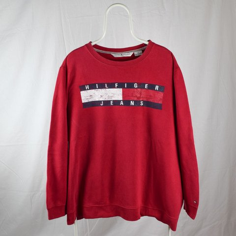 86980203 @theessexdispensary. 2 days ago. Romford, GB. Vintage Tommy Hilfiger  sweatshirt / jumper 👊 XXL 👊 Red 👊 big Hilfiger jeans flag design