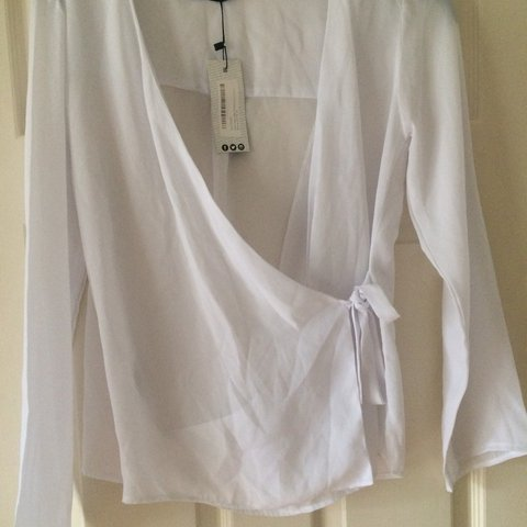 32767f16b5b White sheer wrap top from boohoo. Size 14. Never worn. Tag - Depop
