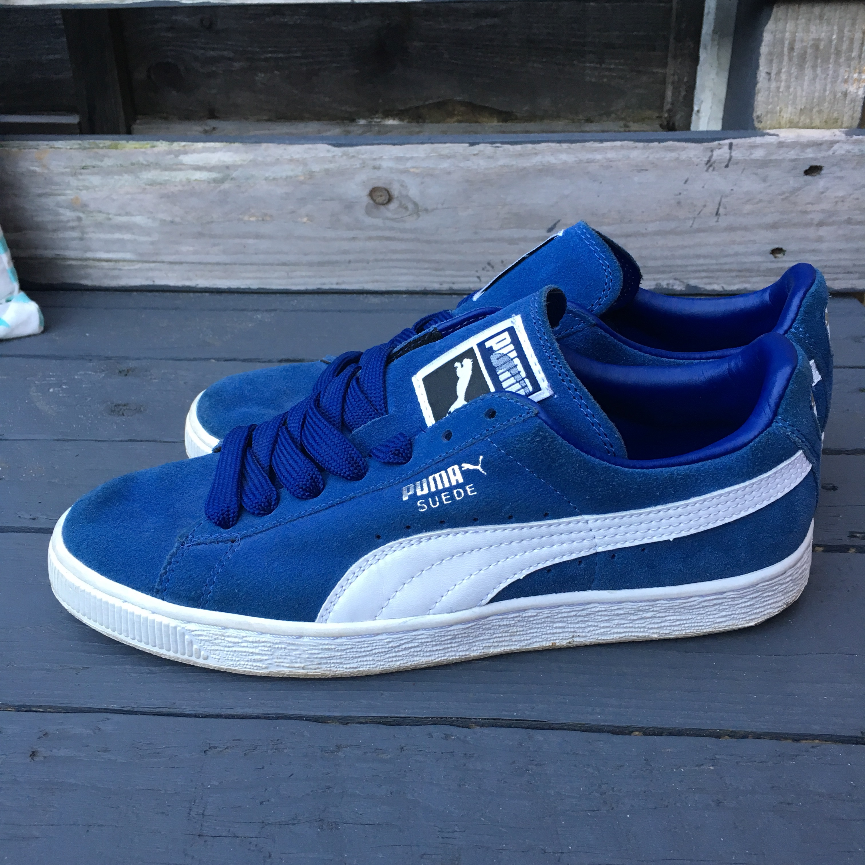reputable site 5bf26 d2e93 Authentic royal blue puma suedes UK adult size... - Depop