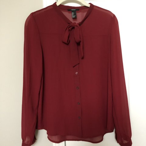 7408d3a6f1 Red long sleeve shirt with a bow tie front from Forever 21! - Depop