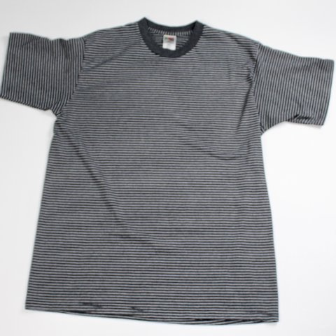 95ef1a5363 @organicthrift. last month. Rockledge, United States. Vintage 90's Striped  Gray Black Fruit of the Loom T-shirt
