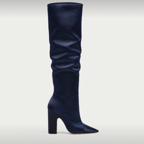 811e580d17d Navy blue knee high Zara satin boots. Brand new never worn. - Depop