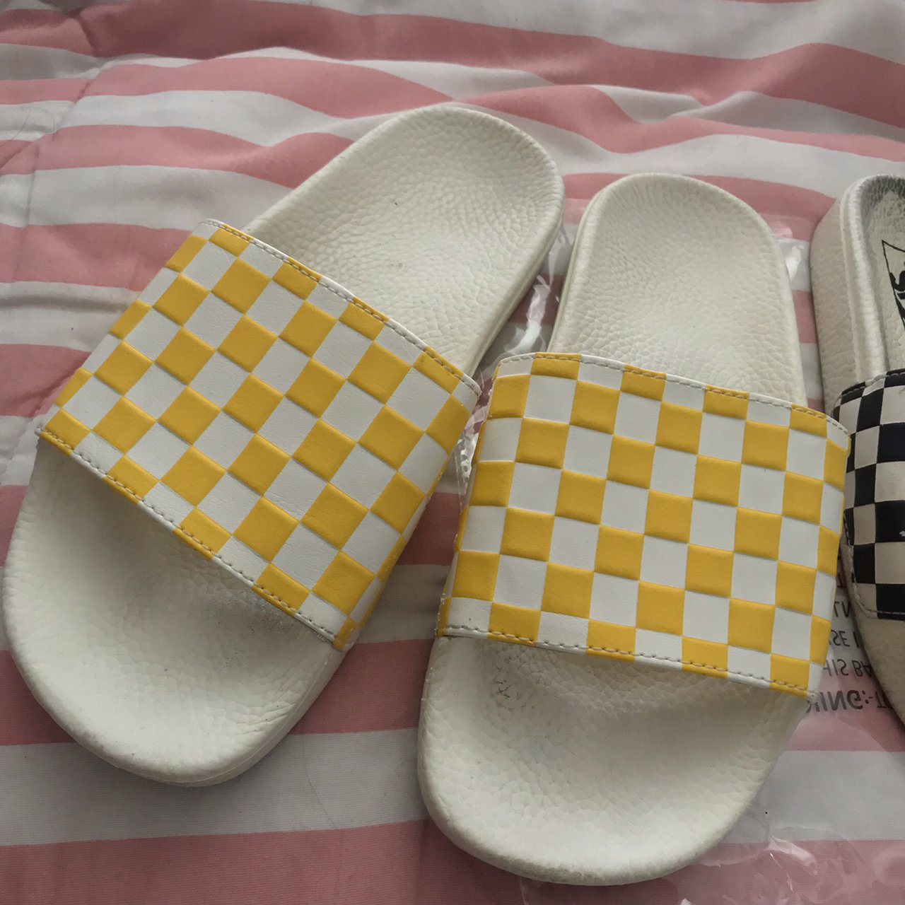 2dc3c567e58 vans yellow checkered slip on slides fits a SIZE 6 IN - Depop