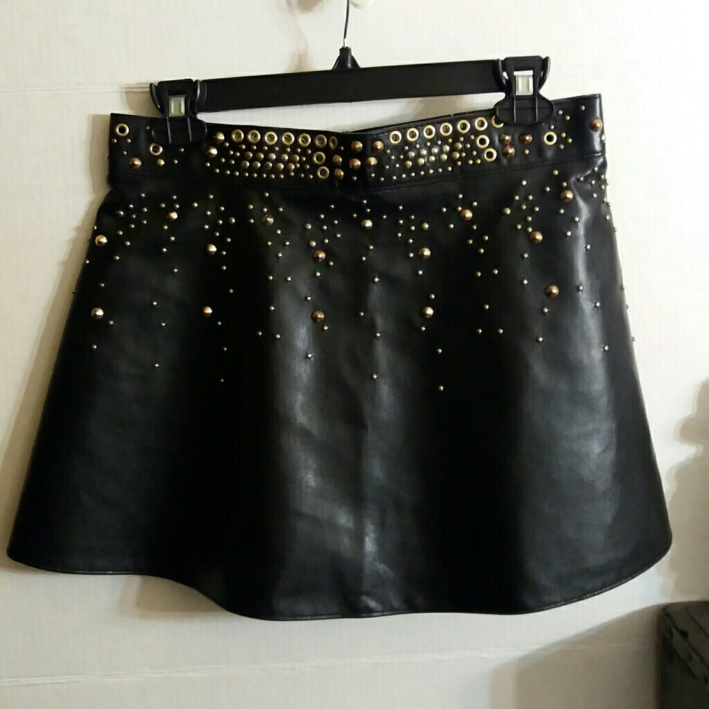 cd9f81ece2 @styledthrift. last year. Los Angeles, Los Angeles County, United States.  Zara black faux leather studded mini-skirt.