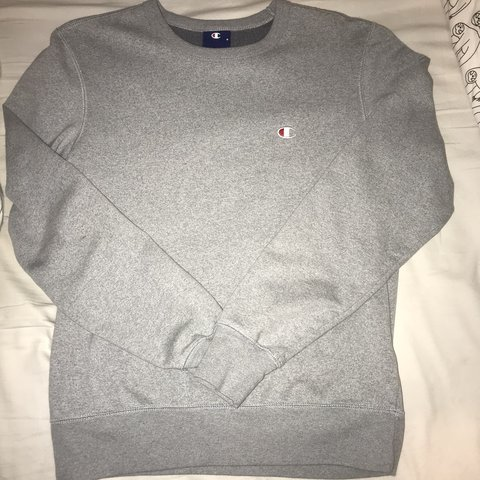 6936a86b men's small champion jumper. would fit size 6 womens. thin a - Depop