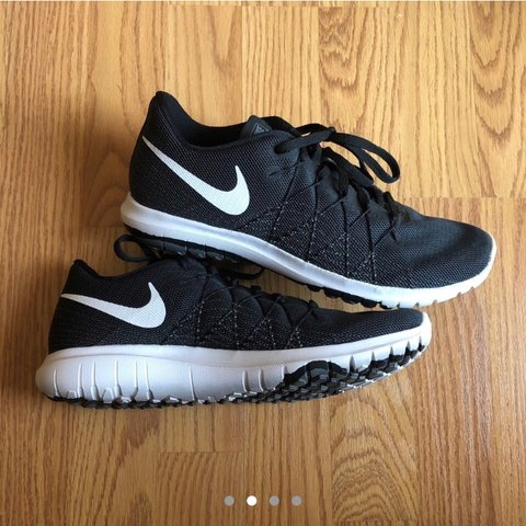 71e82a2a4c1 black and white Nike Flex Fury 2 (GS) REPOP! only wore 2 is - Depop