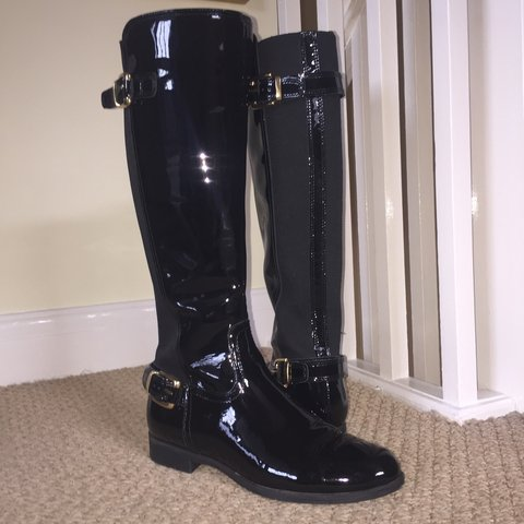 14a474e3a85 Gorgeous patent black knee high office boots. Have been worn - Depop
