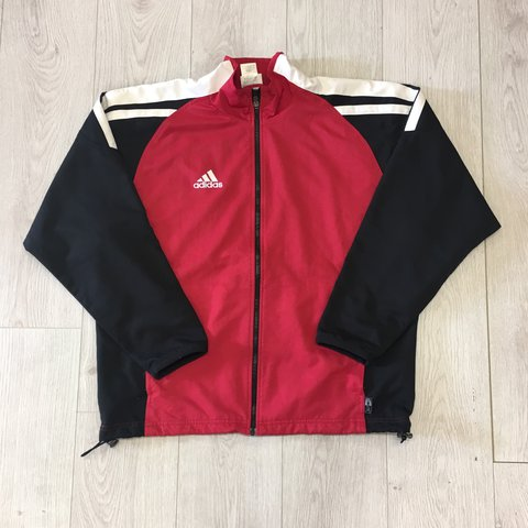 043bb2af170 Vintage Red and black Adidas Sports jacket - Size L - Small - Depop
