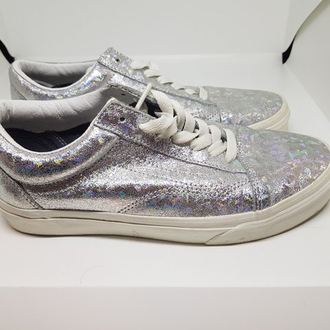 66f4a85000ff Holographic silver old skool vans trainers  holographic UK - Depop