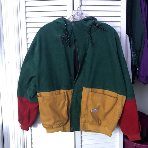 Red Green And Yellow Zaful Colorblock Corduroy Jacket With A Depop