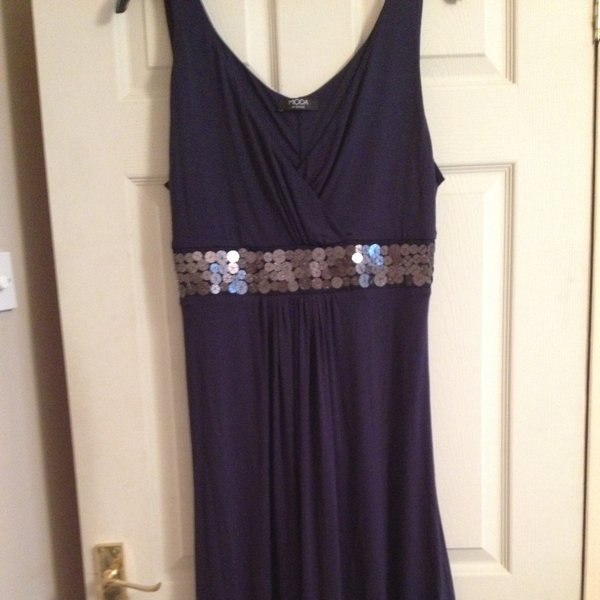 b7dcadb7 Asda dress size 16 Moda range. Blue with sequin band very at - Depop