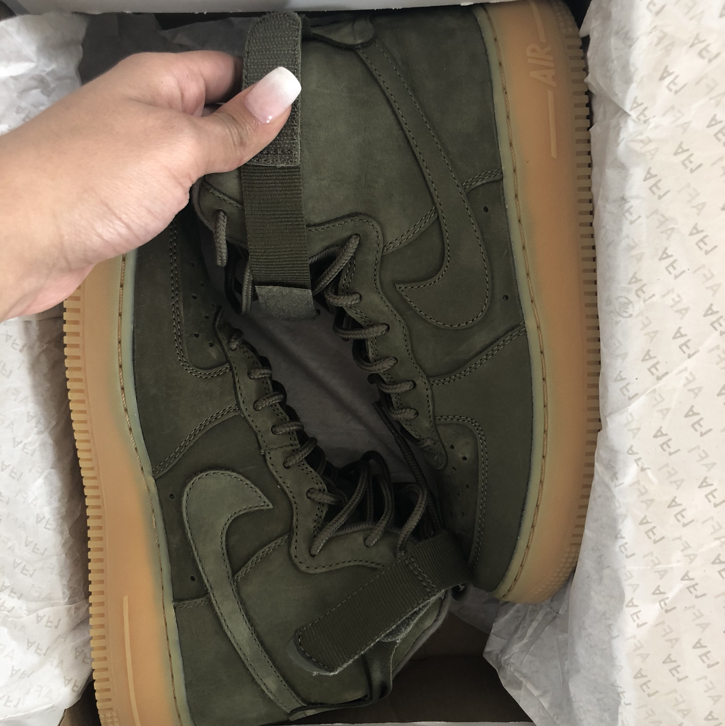 Olive green suede Nike Air Force One