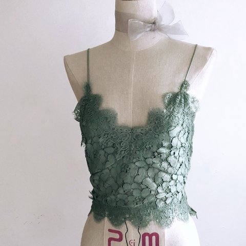 cb5a1d4456bf9f Lace bralette top H M brand Barely worn Minty green🍵  mint - Depop