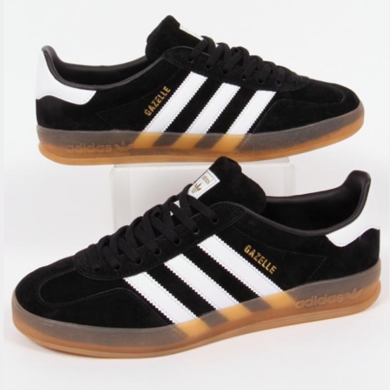 Adidas gaZelle indoor black and white trainers with...