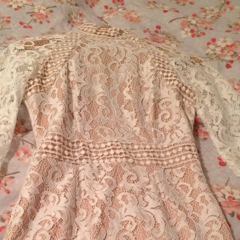 101f83ae9f PLT Isobel white lace high neck bodycon dress. Worn once but - Depop
