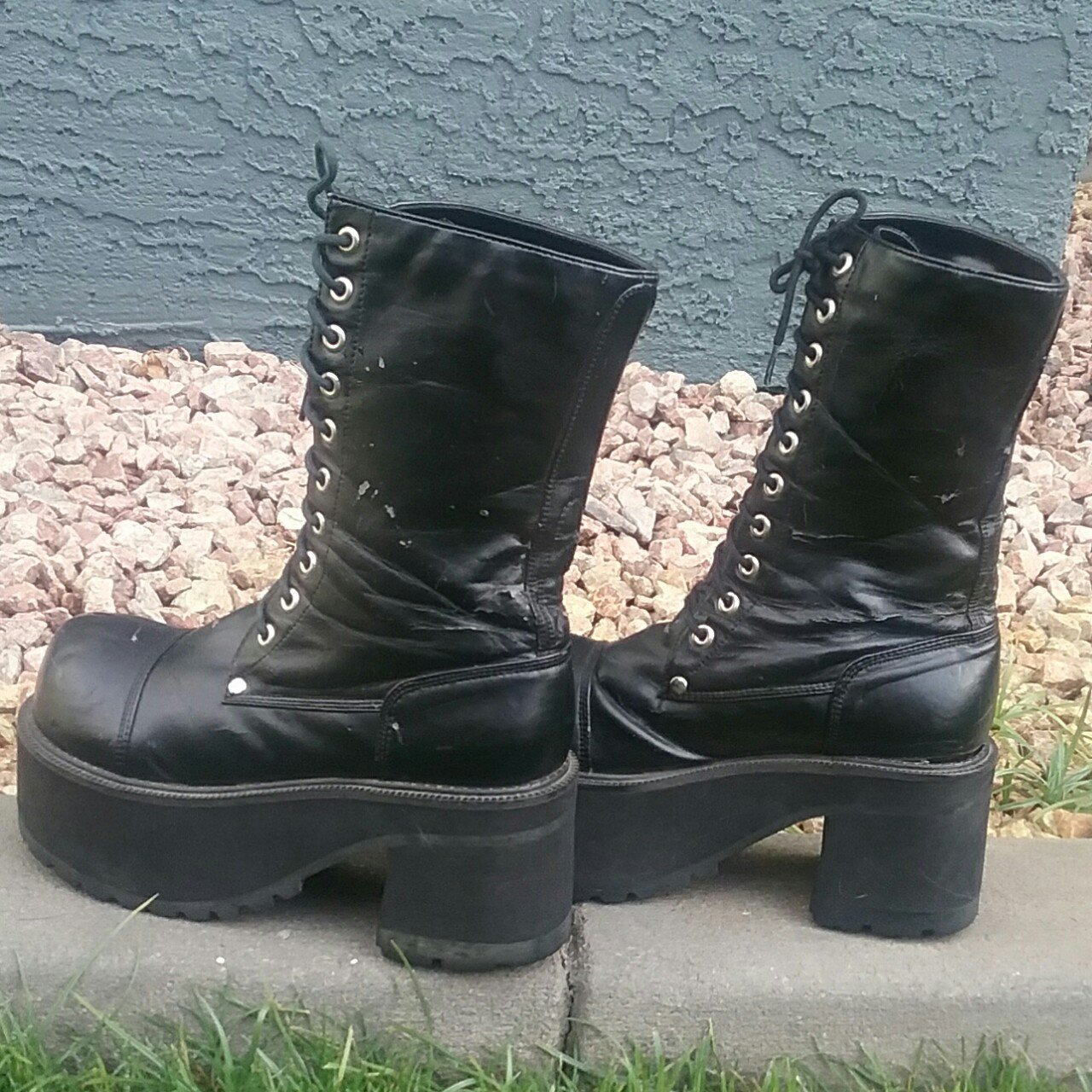 99fab5a21ce Big black Morbid Threads stompy platform boots! They re very - Depop
