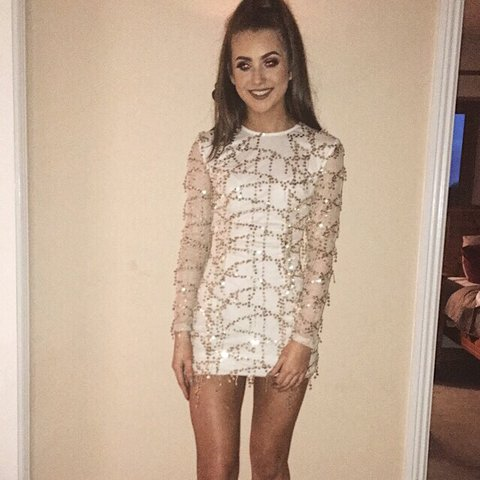 e30c6c8a Selling this white dress with rose gold sequin detail, only - Depop