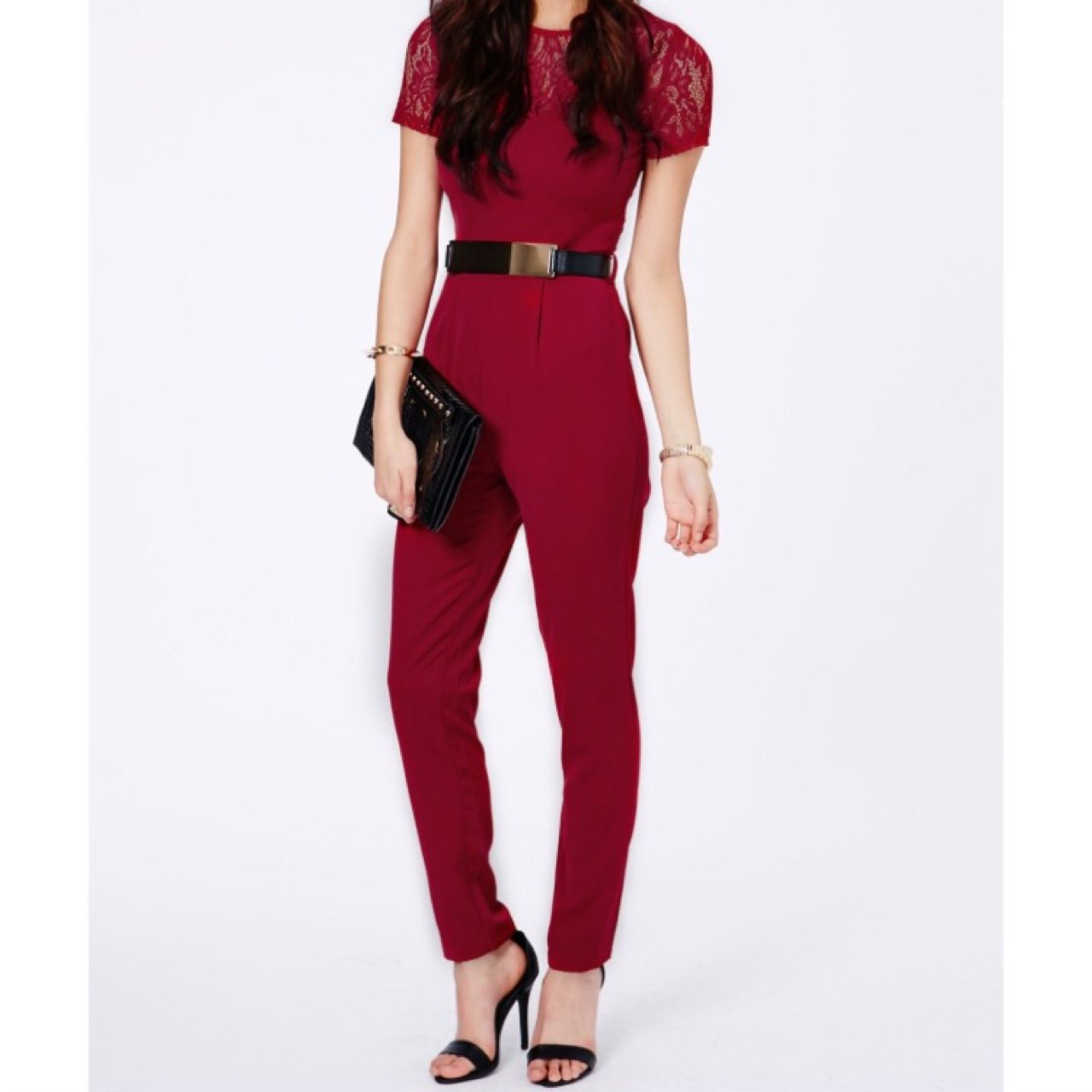 7393c2b9a34 Missguided Deep Red Lace Detail Jumpsuit