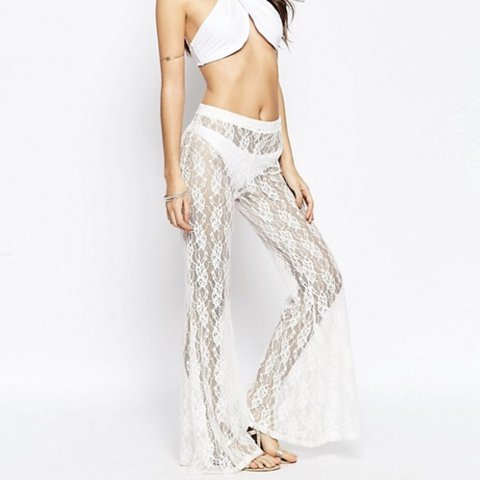 c6d5f6e416f6e @ephiny. last year. Wakefield, United Kingdom. ASOS white lace flared beach  trousers. They look great ...